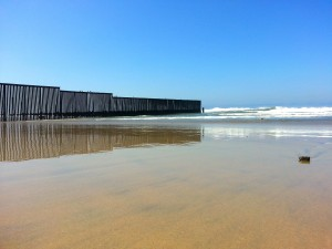 The border wall in the ocean